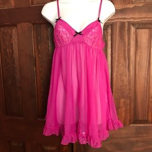 Betsey Johnson Hot Pink Ruffle Lace Lingerie